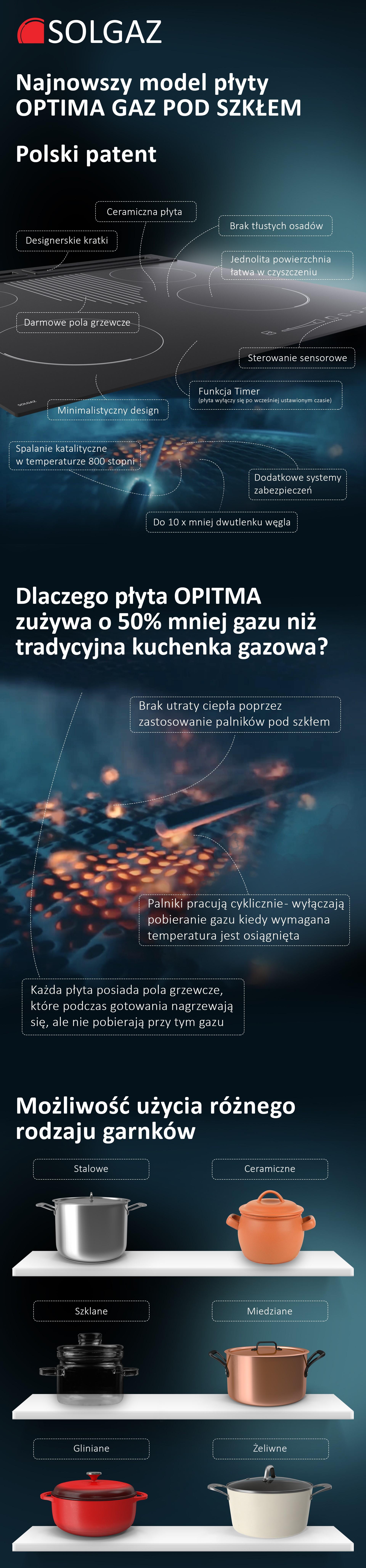 płyta gazowa pod szkłem - Solgaz Optima